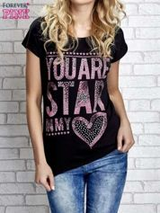 Czarny t-shirt z napisem YOU ARE STAR IN MY HEART z dżetami