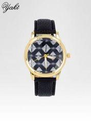 Czarny zegarek damski ze złotą kopertą i etno tarczą