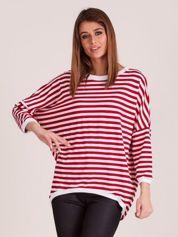 Czerwona bluza w paski z dłuższym tyłem