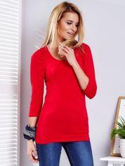 Czerwona bluzka z marszczeniem przy rękawach