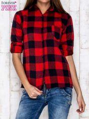 Czerwona koszula w kratę z kieszonką