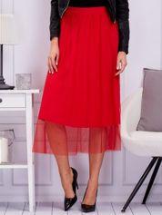 Czerwona spódnica midi z tiulową warstwą