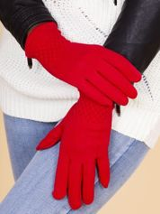 Czerwone Rękawiczki Damskie Z Ozdobnym Ściągaczem na Nadgarstkach