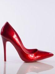 Czerwone lakierowane szpilki z perłą w szpic faux leather
