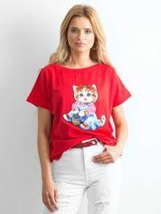 Czerwony luźny t-shirt Sweetness