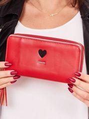 Czerwony portfel z ekoskóry z haftem