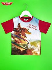 Czerwony t-shirt dziecięcy z nadrukiem SAMOLOTY