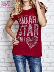 Czerwony t-shirt z napisem YOU ARE STAR IN MY HEART z dżetami