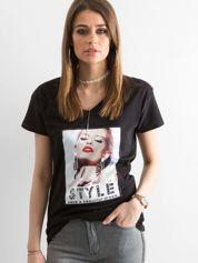 Damski t-shirt z bawełny czarny