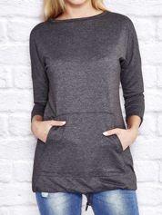 Dresowa bluza z dużą kieszenią i troczkami ciemnoszara