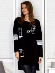 Dresowa czarna tunika z printami