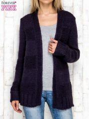 Dzianinowy sweter bez zapięcia fioletowy