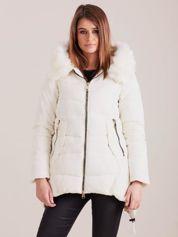 Ecru asymetryczna kurtka zimowa