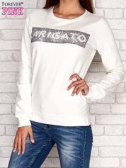 Ecru bluza z napisem ARIGATO