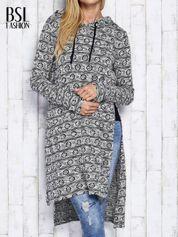 Ecru długi sweter z kapturem