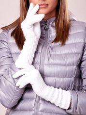 Ecru długie rękawiczki z drapowanym rękawem