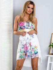 Ecru kwiatowa sukienka z dłuższym tyłem