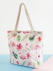 Ecru-różowa torba w kwiaty i flamingi