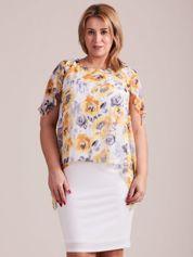 Ecru sukienka z szyfonową kwiatową górą PLUS SIZE