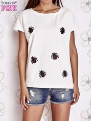Ecru t-shirt z aplikacją owadów