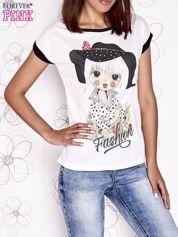 Butik Ecru t-shirt z nadrukiem dziewczyny i dżetami