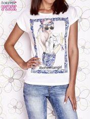 Ecru t-shirt z napisem BOHEMIAN GIRL