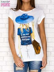 Ecru t-shirt z napisem I AM NOT A MORNING PERSON