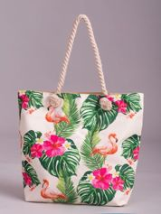 Ecru torba na zakupy z tropikalnym nadrukiem