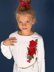 Ecru tunika dla dziewczynki z naszywką