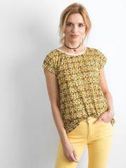 Ecru-żółty t-shirt z nadrukiem