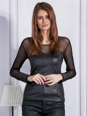 Elegancka bluzka z siateczką czarna