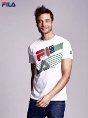 FILA Biały t-shirt męski z ukośnym nadrukiem