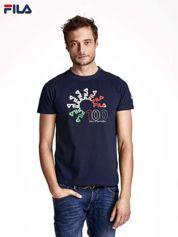 FILA Granatowy t-shirt męski z liczbowym nadrukiem