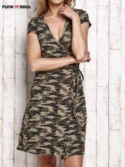 FUNK N SOUL Ciemnozielona wiązana sukienka w militarnym stylu