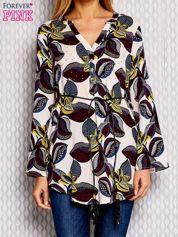Fioletowa koszula z wiązaniem motyw roślinny