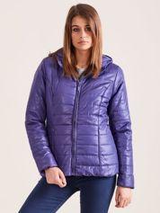 Fioletowa pikowana kurtka z kapturem