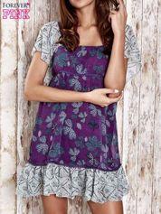 Fioletowa sukienka baby doll w kwiatki