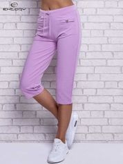 Fioletowe spodnie capri z wszytymi kieszonkami
