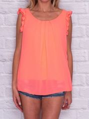 Fluo pomarańczowa bluzka z szydełkową wstawką z tyłu