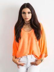 Fluo pomarańczowa damska bluzka oversize