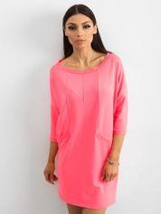 Fluo różowa bawełniana sukienka