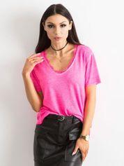 Fluo różowa bluzka z krótkim rękawem