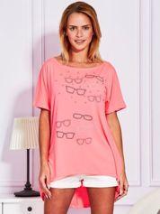 Fluo różowa bluzka z motywem okularów