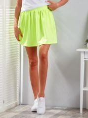 Fluo żółta rozkloszowana dresowa spódnica z kieszeniami