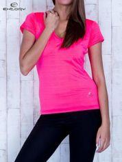 Fluojasnoróżowy t-shirt sportowy w paseczki