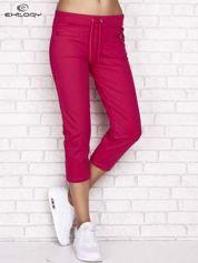 Fuksjowe spodnie dresowe capri z wszytymi kieszonkami