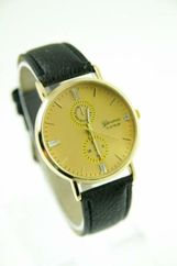 GENEVA Czarny zegarek damski na skórzanym pasku