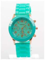 GENEVA Miętowy zegarek damski na silikonowym pasku