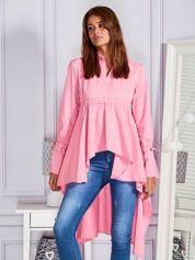 Gładka tunika z dłuższym tyłem różowa
