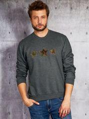Grafitowa bluza męska z gwiazdami moro